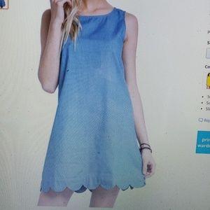 Mittoshop Mitto Shop Light Denim Scalloped Dress